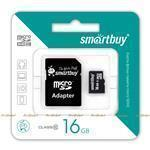 Карта памяти microSDHC SmartBuy 16GB Сlass 10 + SD adapter (SB16GBSDCL10-01) (008668)
